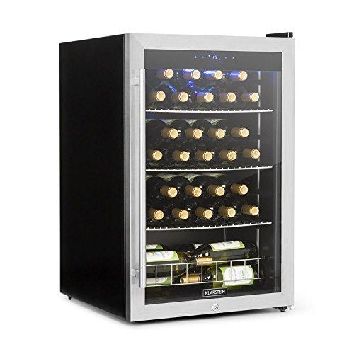 Klarstein Falcon Crest • Getränkekühler • Kühlschrank • Weinkühlschrank • 128 Liter Volumen für bis zu 48 Weinflschen • Kühlbereich 4 - 18 °C • inklusive Schloss und 2 Schlüsseln • silber