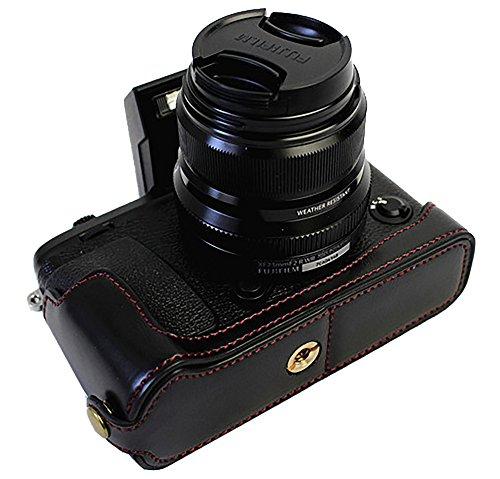 Bottom Opening Version Schützende Echt Leder Half Kamera Tasche für FUJIFILM Fuji X-Serie XE3 X-E3 mit Handschlaufe Schwarz