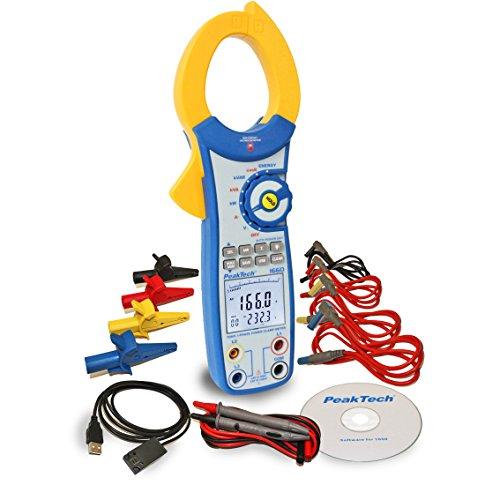PeakTech 1660 - True RMS Stromzange mit USB, 1000A AC, 9999 Counts, Digital Multimeter, Zangenmessgerät für kW, kWh, kVA, TÜV/GS, Strommesszange, Berührungsloser Spannungsmesser, Durchgangsprüfer