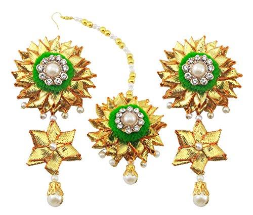 BLENT#63 Traditional Green Gota Patti Fabric Jhumki Earring & Mangteekka For Women/Girls/Kids/Bride/Wedding/Haldi/Mehndi