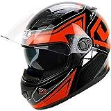 Erwachsener Off-Road Vollvisiermotorradhelm, winddichter Doppelobjektiv-Motorradhelm, Motocross-Schutzkappe 54-61cm
