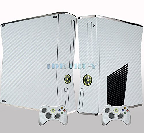Chic White 3D Carbon Fiber for XBox 360 Slim Console 2 Controller Vinyl Skin Sticker New 1 pc by ChicConsole