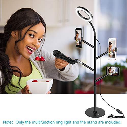 con Morsa per Streaming in Diretta Luminosit/à in 3 Modi Registrazioni Video iPhone 8//7//6S Samsung Neewer Luce Anulare da Selfie con Morsa /& Clip per Smartphone Mini Luce Dimmerabile