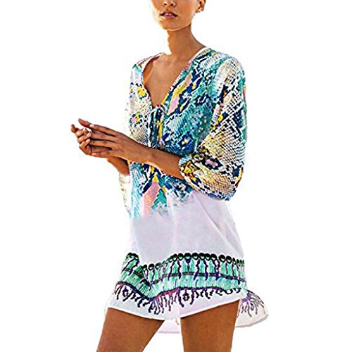 Damen kleid FORH Frauen Strand Chiffon kleid Reizvolle V-Ausschnitt Böhmen Badeanzug Beachwear Bikini Kurze Kleid Cover Up One-Size Loose Beachwear Minikleider Tops (Blau) (Frauen Badeanzug Cover Up Kleid)