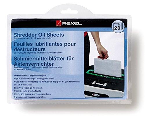 Rexel Ölblätter für Aktenvernichter, 20 Stück, A5 Format, Zur Aktenvernichter-Wartung, 2101949