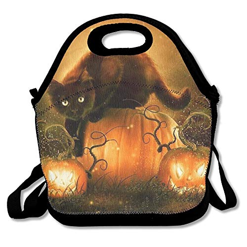 zhouxiashop Halloween Kürbis Fledermaus Katze Lunch Bag Tote Handtasche Lunchbox für Schularbeiten im Freien