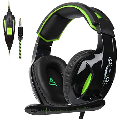 SUPSOO Stereo Gaming Kopfhörer G813, 3,5mm, Over-Ear-Kopfhörer, Headset mit Mikrofon für PS4, die neue Xbox One und PC mit Geräuschreduzierung und Lautstärkenregler, schwarz & grün (Sades Gaming Headset Xbox 360)