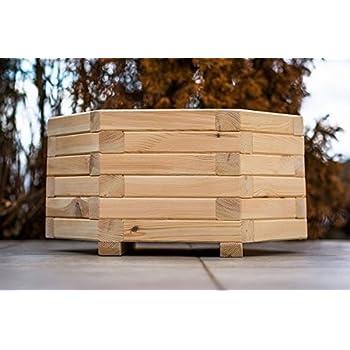 blumenk bel aus holz sechseck durchmesser 70 cm lasiert pflanzk bel blumenkasten pflanztrog. Black Bedroom Furniture Sets. Home Design Ideas
