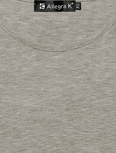 Allegra K femme Goutte-épaule Allegra K Panneau bloc couleur Top tunique gray