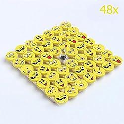 SYOO 48Pcs Emoji Smiley Borrador Set, regalo del favor del partido para la fiesta de cumpleaños de los niños Acción de Gracias fiesta de jardín de Navidad