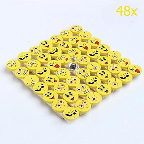 Syoo 48 x giallo emoji emoticon gomma cancellare matita set, bambina bambino giocattolo regalo bomboniera per festa battesimo compleanno bambini party nuovo anno natale
