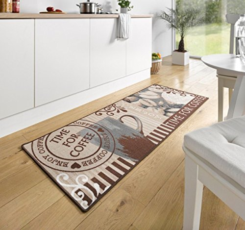 Design Velours Küchenläufer Time for Coffee Braun 67x180 cm | 102372