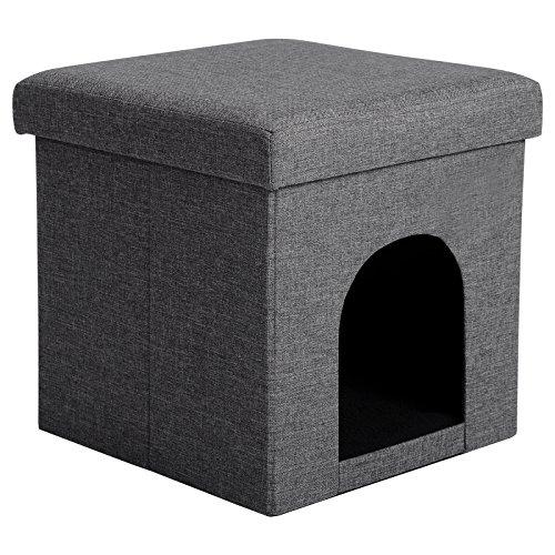 Woltu sh13dgr-1 sgabello sedia a cubo pouf pieghevole cuccia per cane gatti animali cassapanca poggiapiedi contenitore mdf stoffa lino grigio scuro