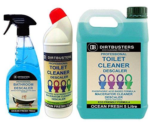 Dirtbusters WC Maceratore SANIFLO Disincrostante detergente Septic Tank Safe 5L e 1litro WC anatra e bagno anticalcare 750ml