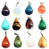 Edelstein-Armband Charms Set 12 Stück Wassertropfen Stein Anhänger Chakra-Perlen für Halskette,...