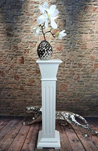 Livitat® Blumensäule Blumenständer Blumenhocker Landhaus Shabby Weiß 66 cm hoch SP13