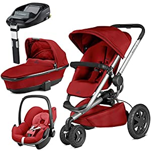 Quinny Buzz Xtra Red Rumour with Carrycot and Pebble with Familyfix Base   12