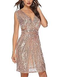 61aac819cfce Guiran Vestito Donna Elegante Abito da Sera Scollo V con Paillettes Abiti  da Cocktail Partito