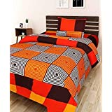 Choice Homes 3D Printed 154 TC Single Bedsheet With Pillow Cover Combo(Orange)