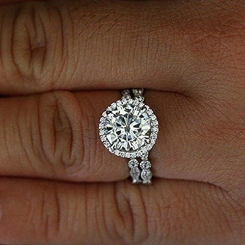 Forever Diamond - 14K White Gold 14 Karat Weißgold Rundschliff Hochfeines Weiß +/River (D) Diamant