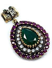Silvestoo India Emerald, Ruby & Topaz (Lab) 925 Sterling Silver With Bronze Pendant PG-104576