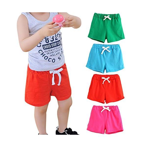 Covermason Bebé Unisex Niños Niña Moda Algodón Ocio Pantalones Cortos (2Años, Rojo) 4