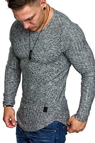 Amaci&Sons Oversize Slim-fit Muscleshirt Vintage Herren Feintrick Pullover Sweatshirt Crew-Neck 6039 Schwarz M