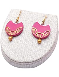 Terramart_ Handmade Terracotta Earring Set Jewellery For Women/Girls (Pink & Gold)