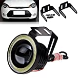 EX35IF2 High Power 3.5 Inches Universal Car Projector LED Fog Light with White Light COB Halo Angel Eye Rings DRL Driving Bulbs for Cars (10W, White Light, 2 PCS)