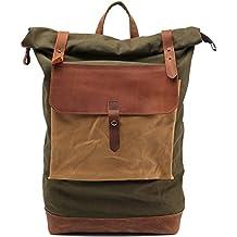 Tela dell'annata zaino zaino, computer portatile Ipad Zaini, borsa di alpinismo escursionismo sacco (bene-organizzato, grande (Oakley Computer Borse)
