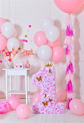 YongFoto 1x1,5 Vinyl Foto Hintergrund 1 Geburtstag Schöne Dekorationen Nummer 1 Ballon Fotografie Hintergrund für Babyfotos Photo Booth Baby Party Banner Kinder Fotostudio