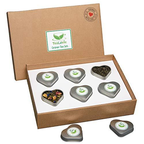 Grüner Tee-mischung (TeaLaVie - 6er Tee-Geschenke-Set - Grüner Tee lose | edle Herz-Teedose für Teeliebhaber | ideal für Dankeschön Geschenke | 45g loser Grüntee Mischung Mix)