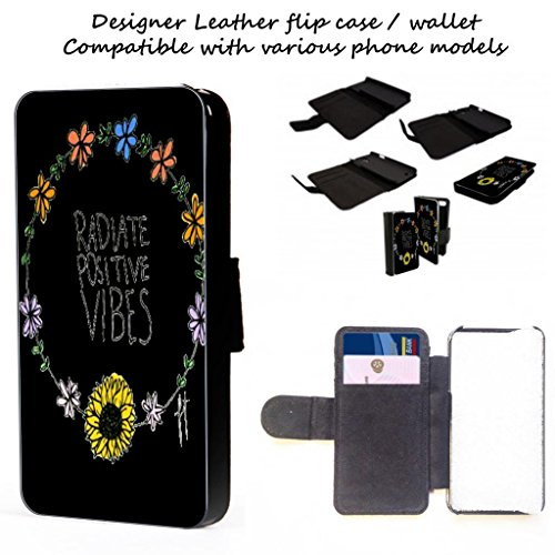 Radiate Positive Vibes - iphone 4,5,c,s Leather Telefonabdeckung Fall Brieftasche Karten / I.D Raum (iPhone 5c) -