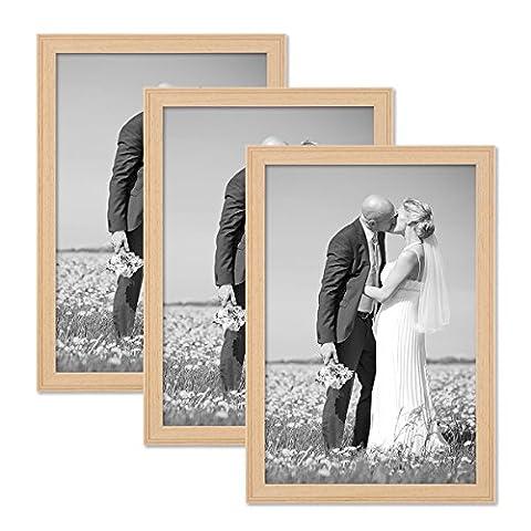 Set de 3 cadres photo chalet 21x30 cm DIN A4 bois naturel bois massif avec vitre et accessoires / à accrocher ou à poser / cadre photo