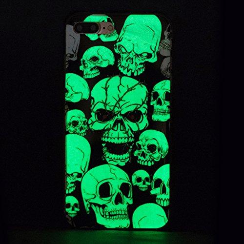 iPhone 7 Plus Leuchtende Hülle,Luminous Schutzhülle für Apple iPhone 7 Plus,Ekakashop Kreativ Design Luminous Schmetterling Muster Night Glow Weiche Silikon TPU Defender Protective Rückseite Schale Tr Luminous Rote-Augen-Geist