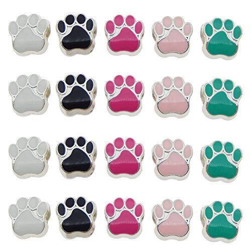 Julie Wang 100er Mixed Cat Dog Paw Footprint Perlen für European Charm Armband Emaille 11x11mm Grün Rosa Großes Loch