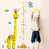 ElecMotive Abnehmbare Messlatte Körpergröße Messen Wandsticker für Kinderzimmer (Giraffe)