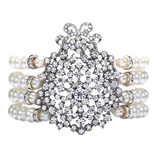ArtiDeco 1920s Armband Perlen Damen Gatsby Kostüm Zubehör Blinkende Kristall Armreif 20er Jahre Accessoires für Damen (Stil 1-Weiß) (Kostüm Armband Armbänder)