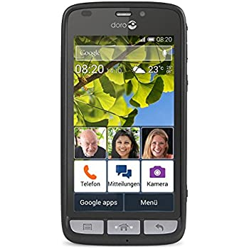 Doro Liberto 820 3G Smartphone (11,4 cm (4,5 Zoll) Touchscreen, 8 Megapixel Kamera, 1 GB RAM, GPS, Bluetooth 4.0, WiFi, Android 4.4) mit Experience Benutzeroberfläche schwarz