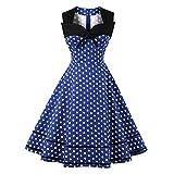Damen 50er Vintage Retro Rockabilly Kleid Hepburn Stil Polka Dots Kleid Partykleider Cocktailkleider Festliches Kleider(Blau Polka Dots,M)
