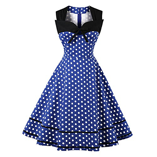 Women Sleeveless Patchwork Polka Dot Bowknot Skirt Retro Vintage 1950s Style Cocktail Party Wedding Homecoming Midi Swing Dress (Medium,Blue Polka Dots)