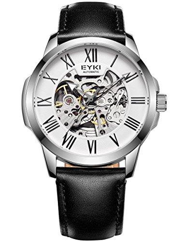 Alienwork Herren Damen mechanische Automatik-Uhr Silber mit Lederarmband schwarz Weiss