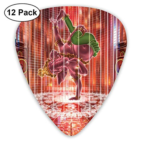 Guitar Picks12pcs Plectrum (0.46mm-0.96mm), Ethnic Elephant Dancing Rocking The Dance Floor With Its Meditating Moves Print,For Your Guitar or Ukulele (3 100 Floors-halloween)