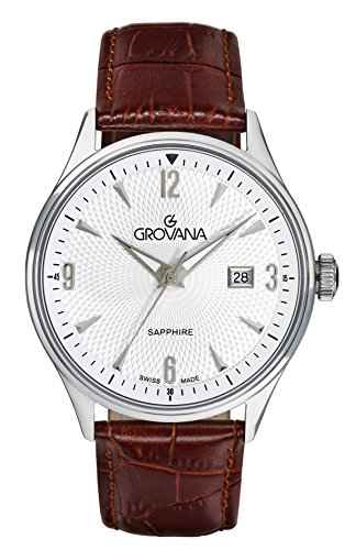 Grovana Men's Quartz Watch with Silver Dial Analogue Display and Brown Leather Strap 1191.1532