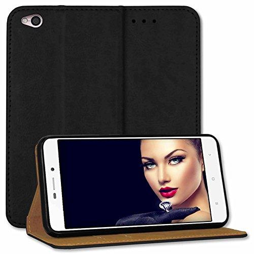 mtb more energy® Leder-Tasche Bookstyle für Xiaomi Redmi 4A (5.0') | schwarz | Echtleder | Schutz-Case Wallet Folio Cover Hülle