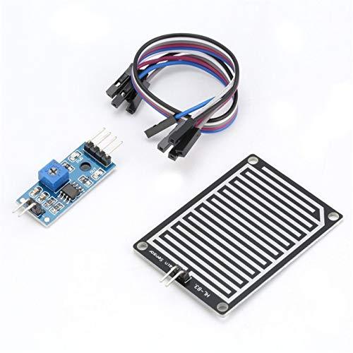 5V LED Regensensor Regentropfen Wassererkennung Feuchtigkeit Feuchtigkeitsmodul Kit für Arduino Weather Detector Monitor mit Kabel JBP-X Voltage Detector Kit