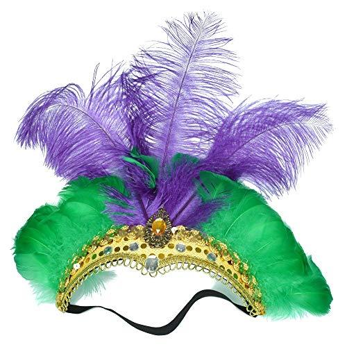 Kostüm Mardi Indian Gras - SHENYI-Federkopfstück Kopfschmuck Benutzerdefinierte farbige Straußenfeder Kopfschmuck natürliche umweltfreundliche Bauchtanz Indian Dance Hair Hoop (Color : Purple Green)