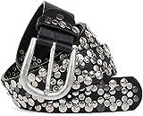 styleBREAKER edler Vintage Nietengürtel mit echtem Leder, verschiedene Nieten und Strass, kürzbar, Damen 03010053, Farbe:Schwarz;Größe:105cm