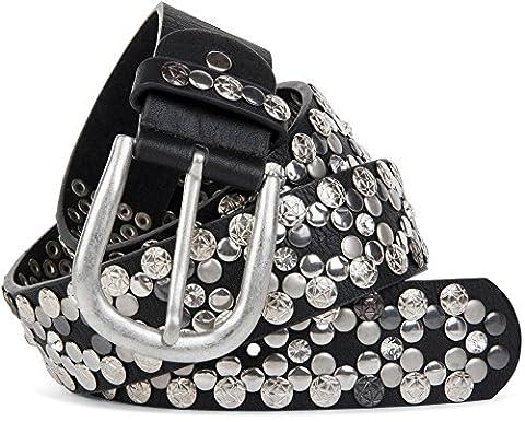 styleBREAKER edler Vintage Nietengürtel mit echtem Leder, verschiedene Nieten und
