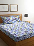 #1: Bombay Dyeing Cynthia Polycotton Double Bedsheet with 2 Pillow Covers, Blue